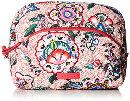 Vera Bradley Iconic Large Cosmetic, Signature Cotton, stitched Flowers - Wool Stitched