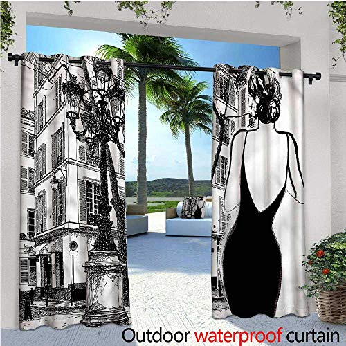 warmfamily Paris Outdoor- Free Standing Outdoor Privacy Curtain Young Woman in Black Dress for Front Porch Covered Patio Gazebo Dock Beach Home W96 x L108 (Dress In Black Ashley)