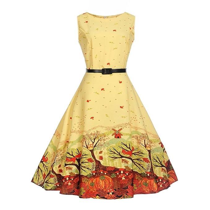 MRULIC Sommerurlaub Kleid Retro-Stil Prinzessin Kleid Party Prom ...