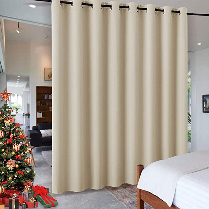 RYB HOME Decor Freestanding Office Partition Wall Divider, Contemporary Blackout Curtain Panel Anti-Rust Grommet Top for Home Theatre/Bedroom/Storage, 8 ft Tall x 15 ft Wide, Cream Beige, 1 Piece