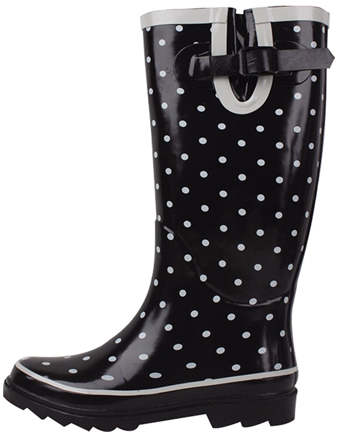Women's Rain Boots Adjustable Buckle Mid Calf Festival Wellies Rubber Knee High Snow Shoes Multiple Styles (6 B(M) US, Black Polka Dots)