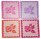 Ilkadim 8Piece Towel 100% Cotton 32X 32cm, Assorted Designs to Choose From, 100% Cotton, Mehrfarbig Blume 1, 32 x 32 cm