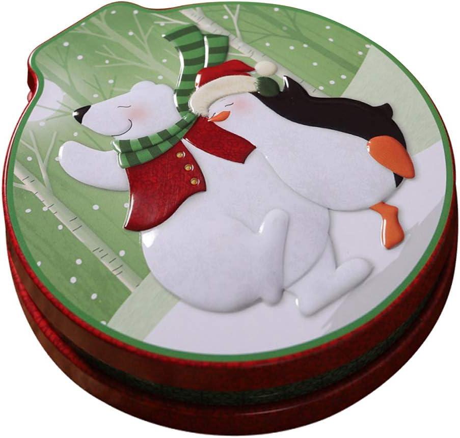 perfk Ronda Zadd O Zsub Forma de Boca de Caballo Caja de Regalo de Galletas de Caramelo de Hierro Tarro Navidad - tal como se describe, 8