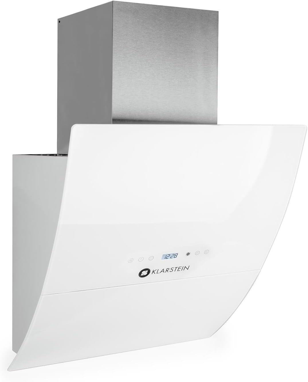 Klarstein Annabelle Eco 60 Campana extractora de pared - 60cm, Clase energética A, Función Aspiración/Ventilación, 3 Niveles potencia, 650 m³/h, Mando a distancia, Control táctil, LED, Blanco