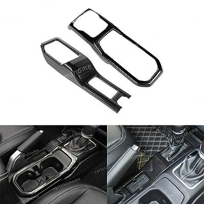Carbon Fiber Car Left+Right Gear Shift Panel Cover for 2020-19 Jeep Wrangler JL: Automotive
