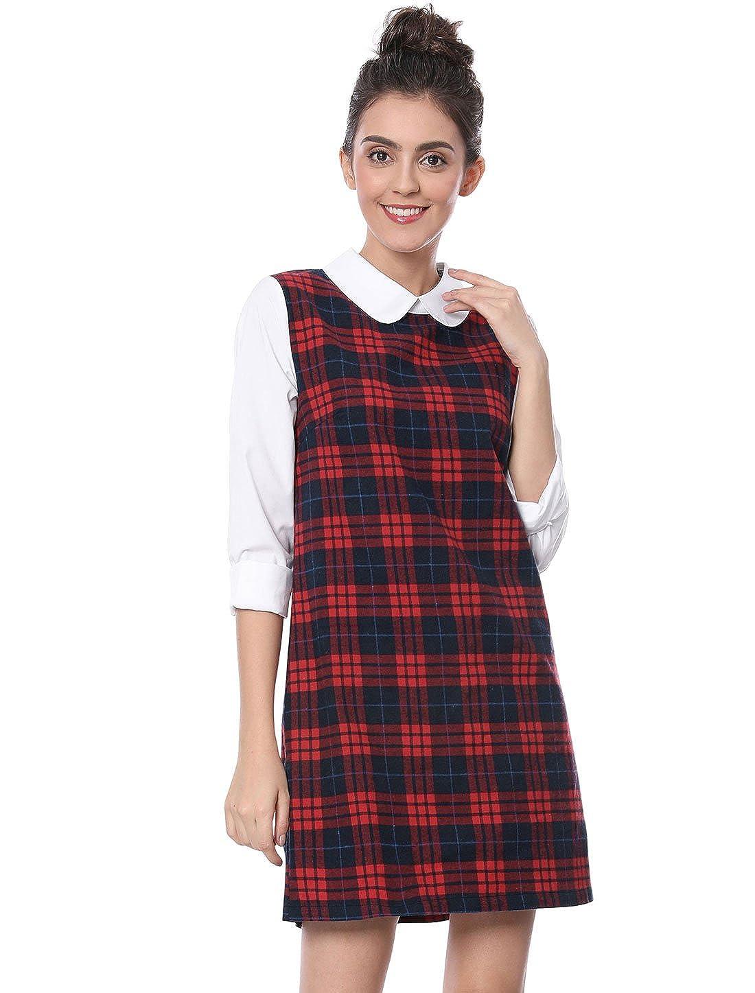 1960s Dresses | 60s Dresses Mod, Mini, Jakie O, Hippie Allegra K Womens Contrast Peter Pan Collar Long Sleeve Shift Plaid Checked Dress £20.59 AT vintagedancer.com