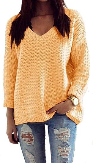 Mikos*Damen Pullover Winter Casual Long Sleeve Loose Strick Pullover Sweater Top Outwear (627) *Hergestellt in der EU Kein Asienimport*