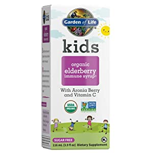 Garden of Life Kids Organic Elderberry Immune Syrup with Vitamin C for Immune Support - Sugar Free Sambucas Elderberry Syrup for Kids Plus Aronia Berry & Acerola Cherry, 116 mL (3.9 fl oz) Liquid