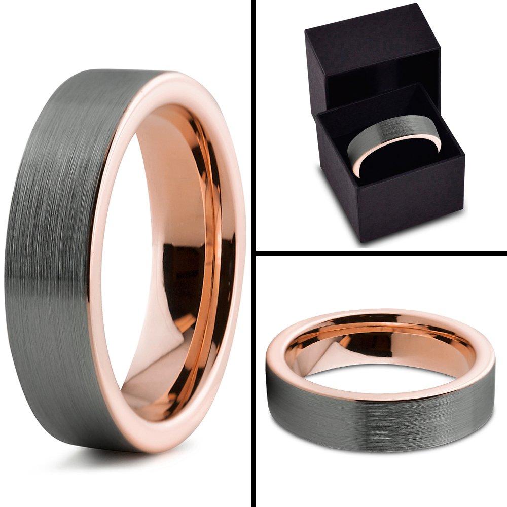 Charming Jewelers Tungsten Wedding Band Ring 6mm for Men Women 18k Rose Gold Grey Flat Cut Brushed Size 8