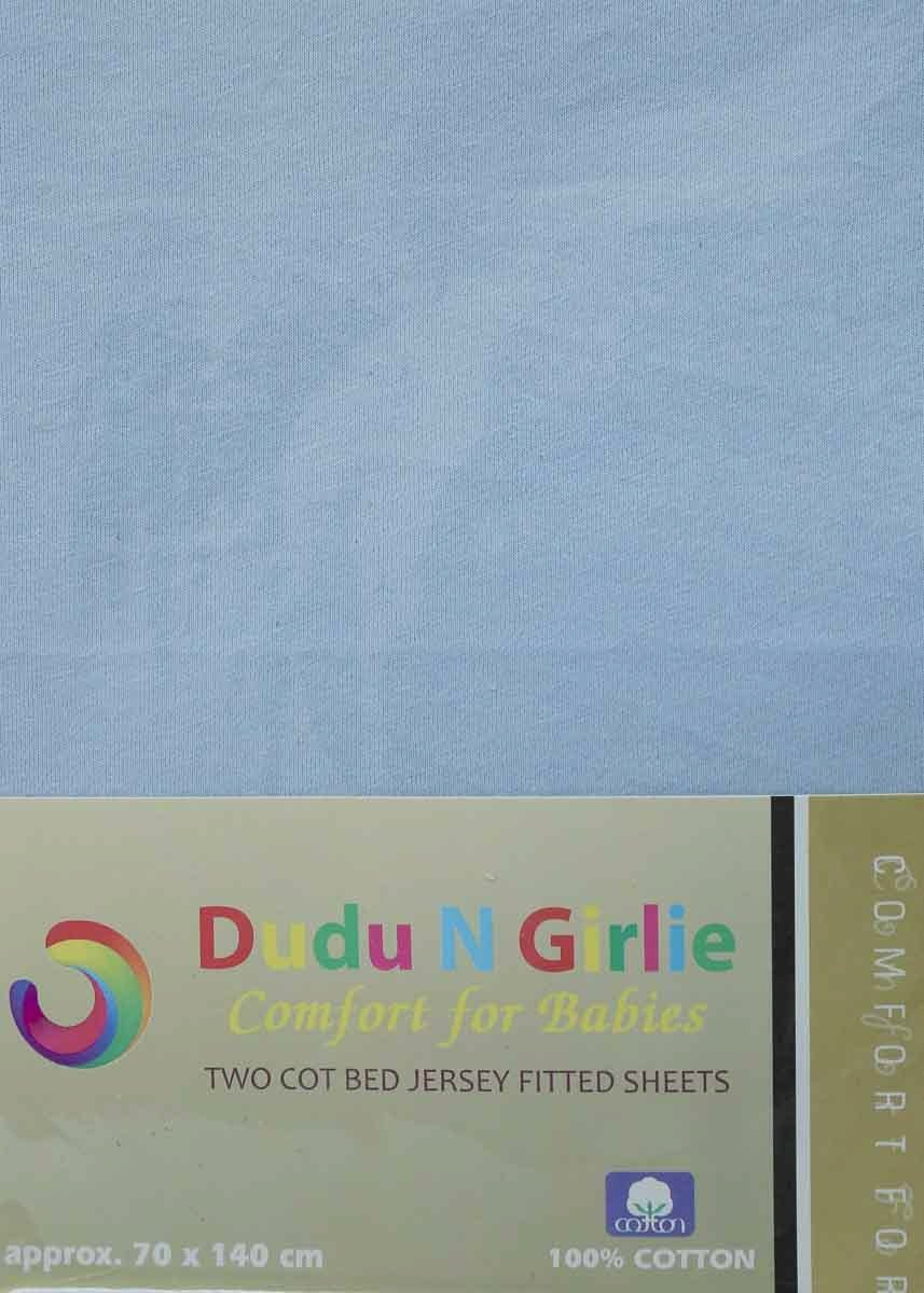 Dudu N Girlie Cotton Thick Jersey Crib Fitted Sheet 40 cm x 90 cm Blue