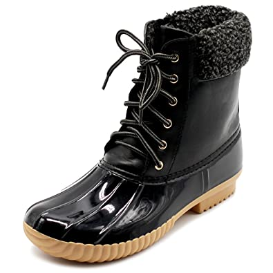 Women Shoe Lace Up Fleece Duck Boots