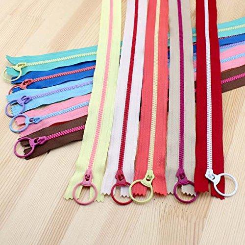 Mangocore 2017 New! Bright color 30cm 3# Resin contrast color zipper fashion pull ring zipper head DIY handwork Bag Close-End 10Pcs/lot