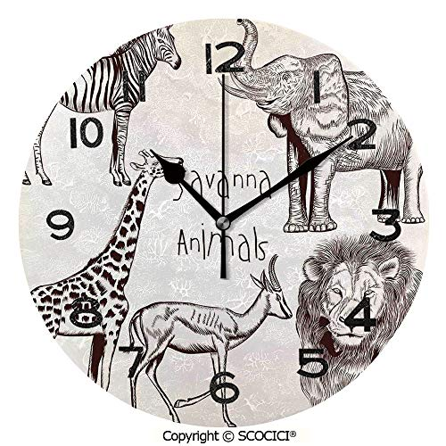 Frameless Clock 3D DIY Decorative Clock Collection Of Tropic African Asian Wild Savannah Animals Lion Giraffe Zebra Graphic 10 Inch Large Size Round Wall Clock for Living Room Bedroom Office Hotel