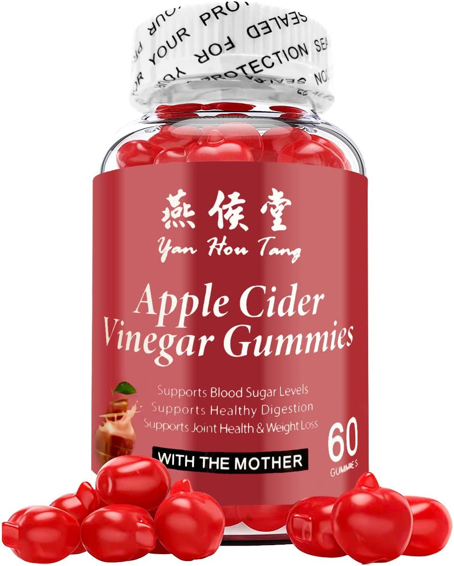 Yan Hou Tang Organic Apple Cider Vinegar Gummies Vitamins for Weight Loss Belly Control Detox Cleanse Support with Vitamin B6, B12-60 Gummy