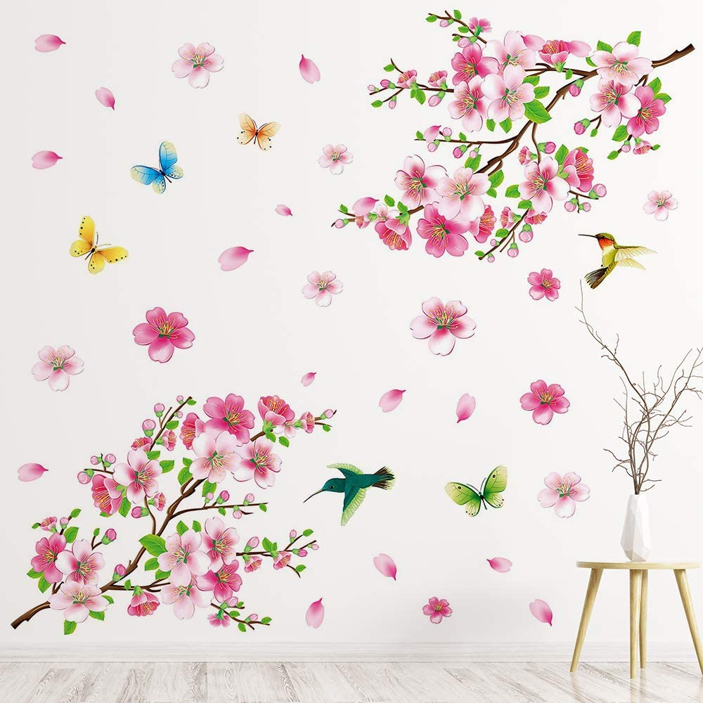 Supzone Pink Cherry Blossom Wall Decal Peach Blossom Wall Sticker Floral Butterfly and Birds Wall Decor Flower and Tree Branch Wall Art DIY Vinyl Mural for Girls Kids Nursery Bedroom Living Room