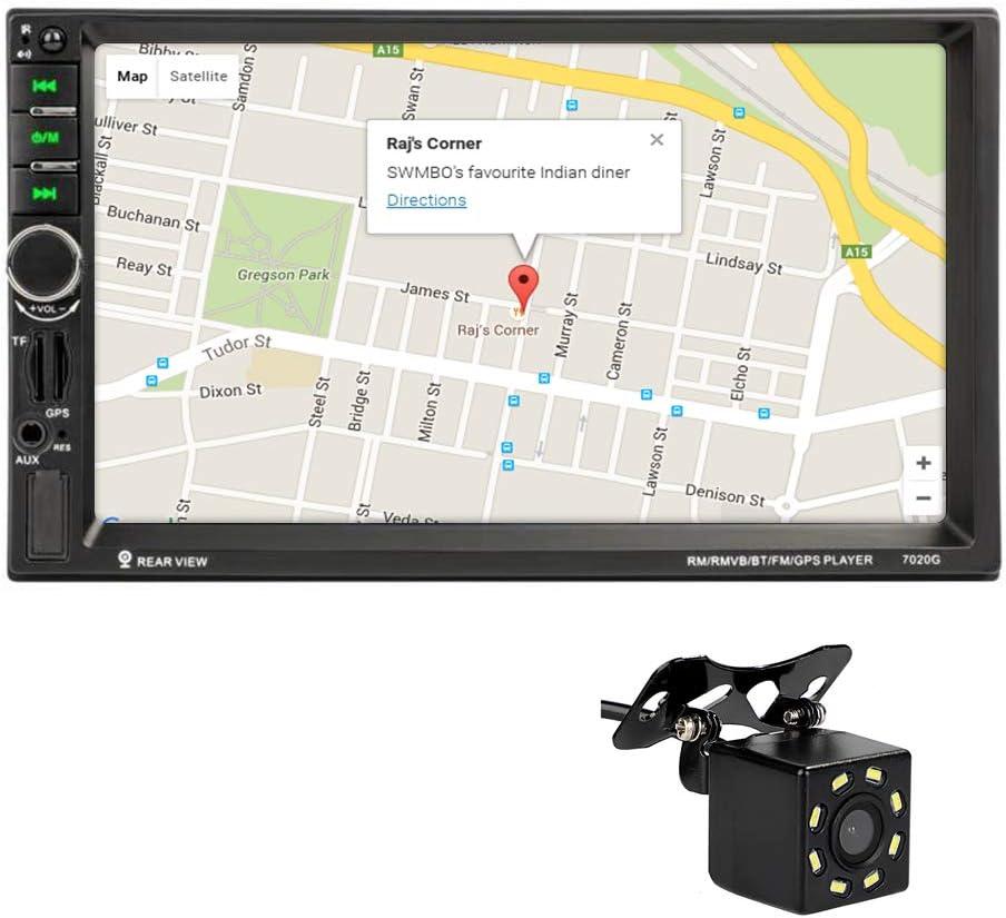 MiCarBa 2 Din 7 pulgadas Radio del coche Pantalla táctil Vídeo estéreo del coche, resolución de video HD multimedia, navegación GPS con 8 LED Cámara de marcha atrás y control remoto