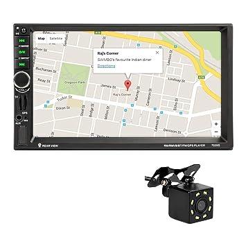 MiCarBa 2 Din 7 pulgadas Radio del coche Pantalla táctil Vídeo estéreo del coche, resolución de video HD multimedia, navegación GPS con 8 LED Cámara ...