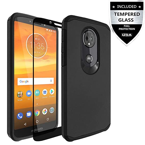 brand new 6ce31 bfbb7 Moto E5 Plus Case, Moto E5 Supra Case With Tempered Glass Screen  Protector,IDEA LINE Heavy Duty Protection Hybrid Hard Shockproof Slim Fit  Cover For ...
