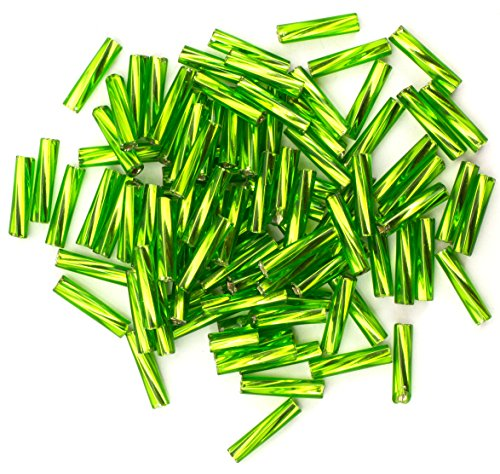 Green Bugle Glass Beads (Size 4 Lime Green Czech Glass Twist Bugle Beads)