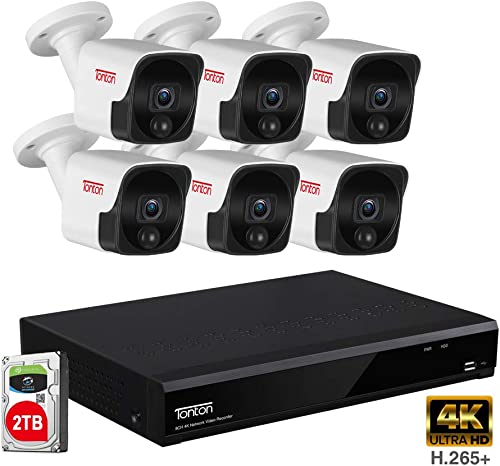 4K Ultra HD NVR Audio Recording Tonton 8MP Ultra HD PoE NVR Security System,8CH Video NVR with 2TB HDD and 6PCS 5MP Outdoor Waterproof Bullet IP Cameras,True Plug and Play,Heat Motion Sensing