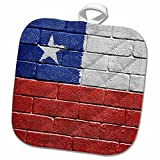 3D Rose National Flag of Chile Painted Onto a Brick Wall Chilean Pot Holder, 8 x 8''