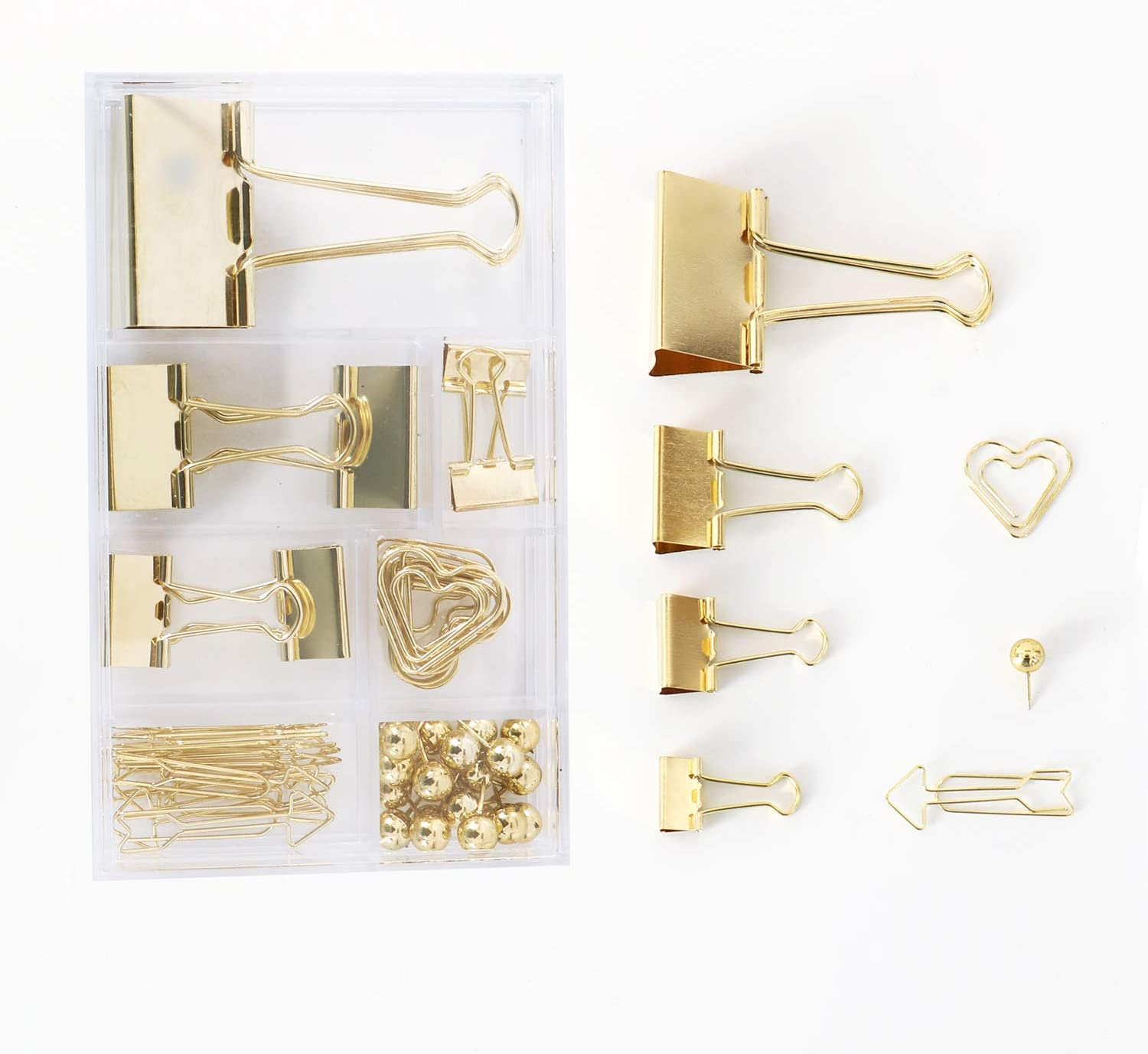 Binder Clips Assorted 4 Sizes, Arrow-Shaped Paper Clips, Heart-Shaped Paper Clips, Push Pins, Metal Fold Back Clips with Transparent Box, for Office School Home Desk Supplies, 47pcs(Gold)