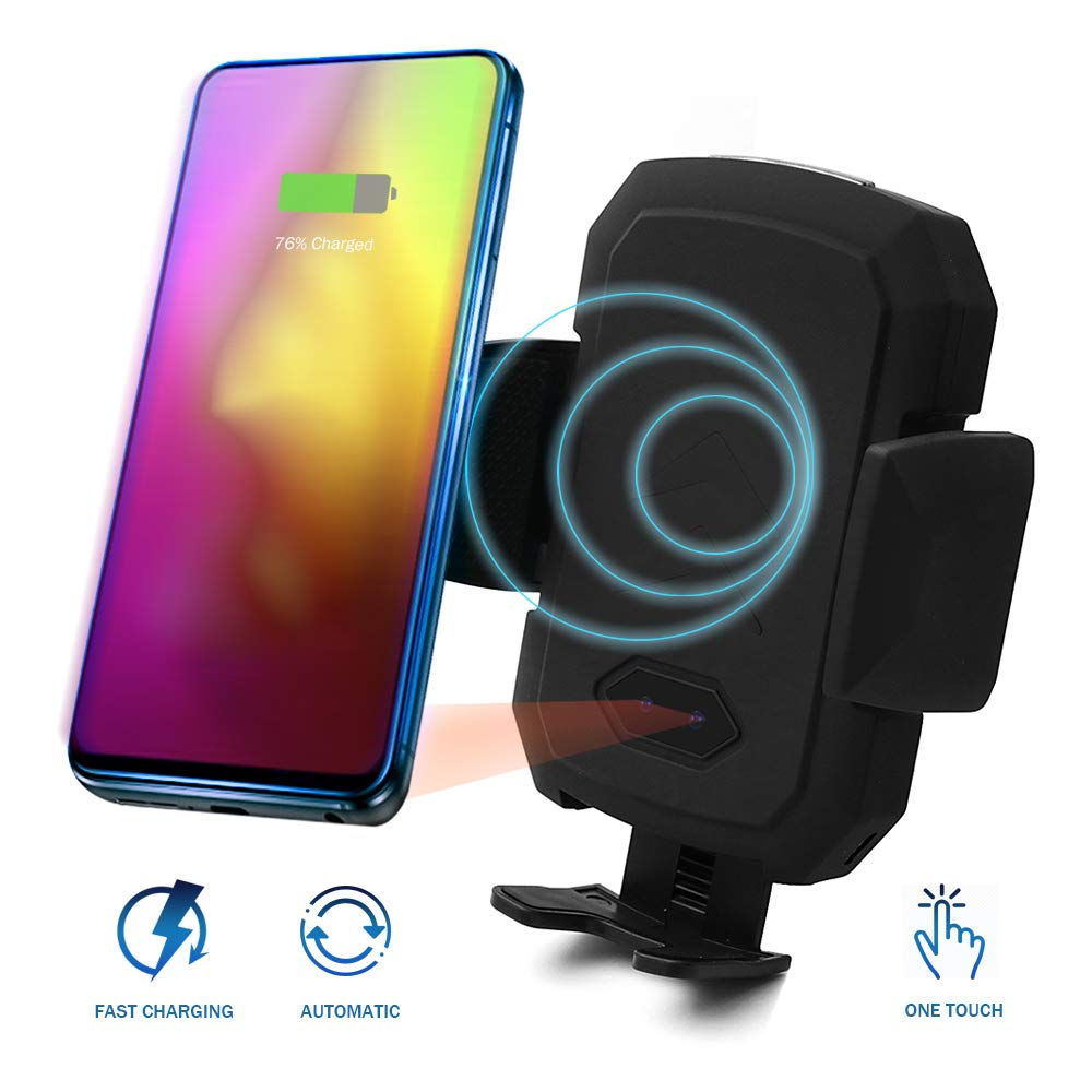 Acumen Wireless Car Charger Mount with Infrared Sensor Automatic Clamping Phone Holder Air Vent Mount Compatible with S9/S8 Note 8/9 X/Xs/Xs Max/8 and More Car Charger Include (B1ack) by Acumen