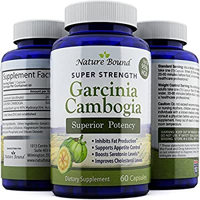 Pure Garcinia Cambogia Extract - Dietary Supplement for Weight Loss - Fat Burning Pills for Women and Men - Antioxidant Blend for Increased Immunity - Cleanse and Detox by Nature Bound - 60 Capsules