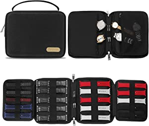 SIMBOOM Watch Bands Storage Bag, Nylon Spill-Resistant Watch Band Organizer Bag Carrying Case Travel Watch Straps Carrying Bag Pouch for Watch Bands, Watch Band Pin, Cable, Headset (Black)