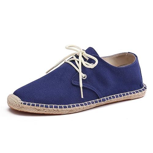 Zapatos con Cordones Lona Azul Alpargatas para Hombre Lino Espadrilles: Amazon.es: Zapatos y complementos