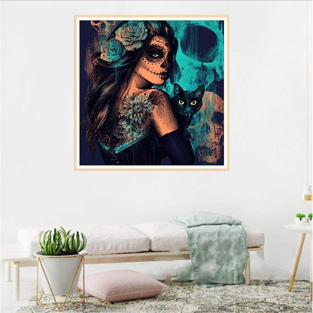 Pintura Diamante de BaZhaHei, Pintura del taladro del punto 5D de Taladro de punto de decoración de casa extraño chica 5D Bordado Pinturas Rhinestone Pegado ...