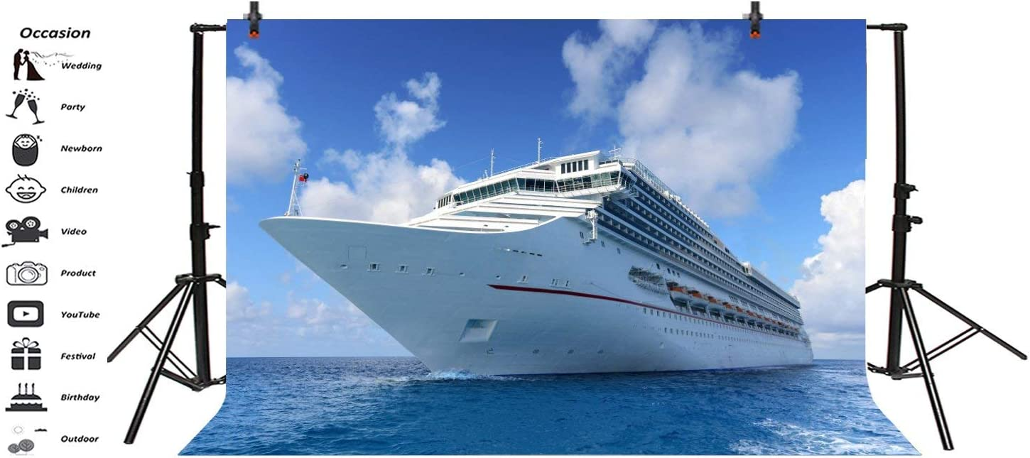 Sea Cruise Ship Backgroud Blue Sky White Cloud Backdorp 10x6.5ft Polyester Photography Backgroud Dinner Party Mucic Dance Summer Holiday Vacation Photo Potraits