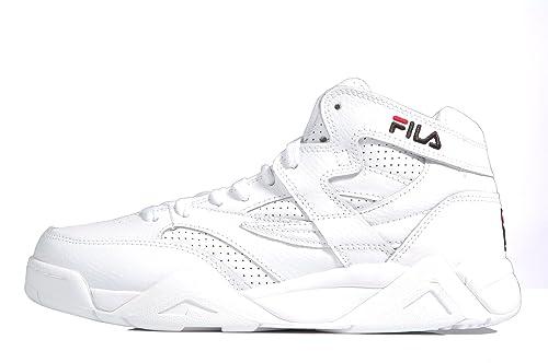 Fila m-squad Mid White Leather Sneaker Logo - Zapatillas deportivas Retro blancas de piel Blanco Size: 45: Amazon.es: Zapatos y complementos