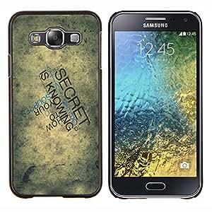 LECELL--Funda protectora / Cubierta / Piel For Samsung Galaxy E5 E500 -- Tipografía Secreto --