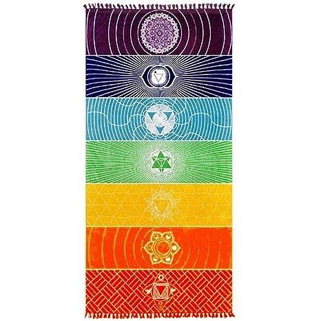 vobome Toalla de Playa Cuadrada Rayas de Arco Iris Patrón Cómoda Tapete de Yoga Suave Tapete (Estera de poliéster de 150 x 75 cm, Arco Iris)