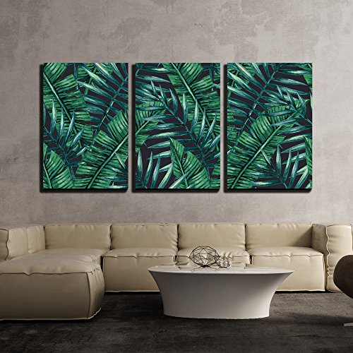wall26 3 Piece Canvas Wall Art - Watercolor Tropical Palm Leaves Seamless Pattern. Vector Illustration. - Modern Home Decor Stretched and Framed Ready to Hang - 16