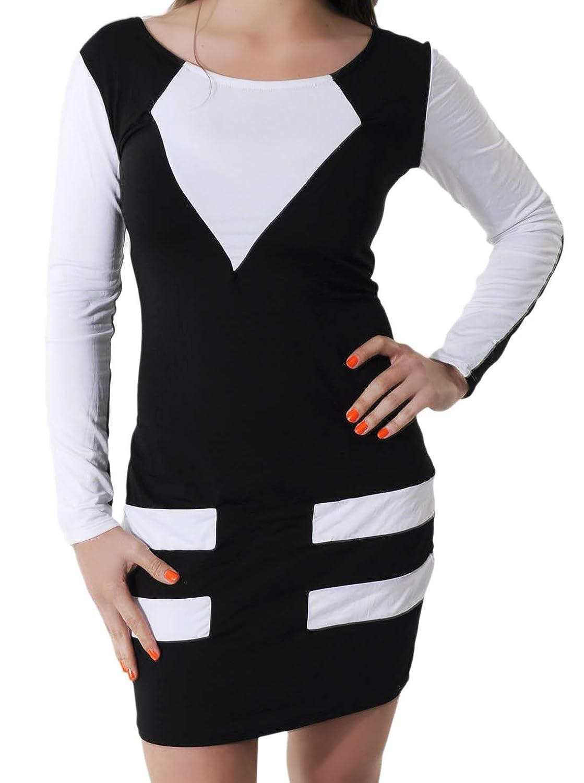 erdbeerloft- Damen Bandage Bodycon Slim Fit Stretch Sommerkleid Mini, 36-40 One Size, weiß schwarz