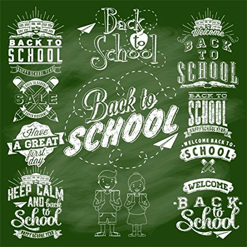 Yeele 5x5ft Vinyl Photography Background Back to School Season Chalk Drawing Great First Day Cartoon Photo Backdrops Pictures Photoshoot Studio Props -