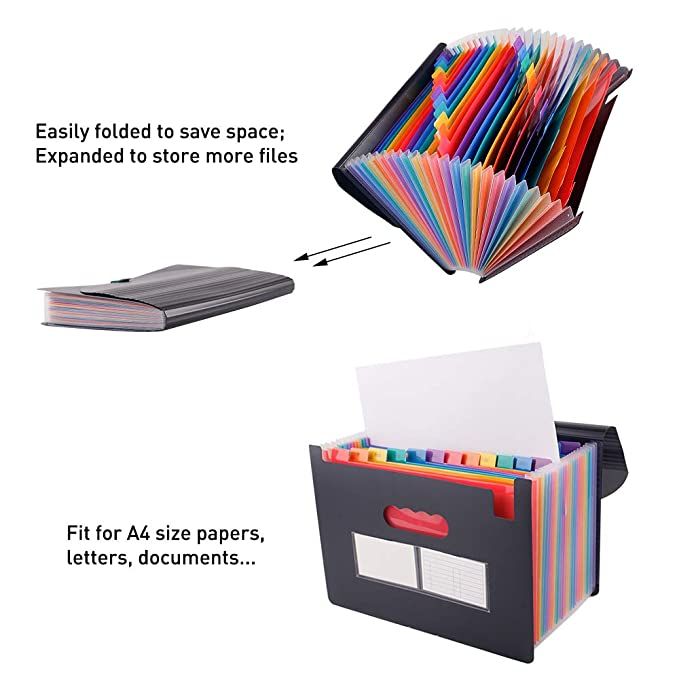 Scriptract Carpetas de Acordeón A4 24 Bolsillos Archivadores Escolares Clasificador Organizador de Archivos para Oficina Escuela (24 bolsillos): Amazon.es: ...