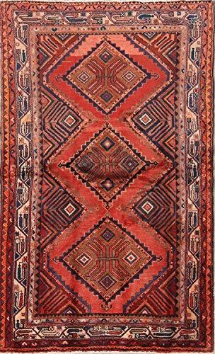Rug Source Geometric Tribal Hamedan Hand Knotted Vintage Persian Area Rug 4x6 For Living Room (6' 4
