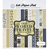 "Echo Park Paper CBOWT53015 Carta Bella Double-Sided Paper Pad, 24/Package, Old World Travel, 12 Designs/2 Each, 6"" x 6"""