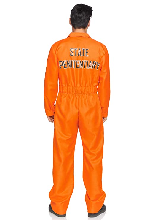 Amazon.com: Leg Avenue Mens Prison Jumpsuit Costume, Orange ...