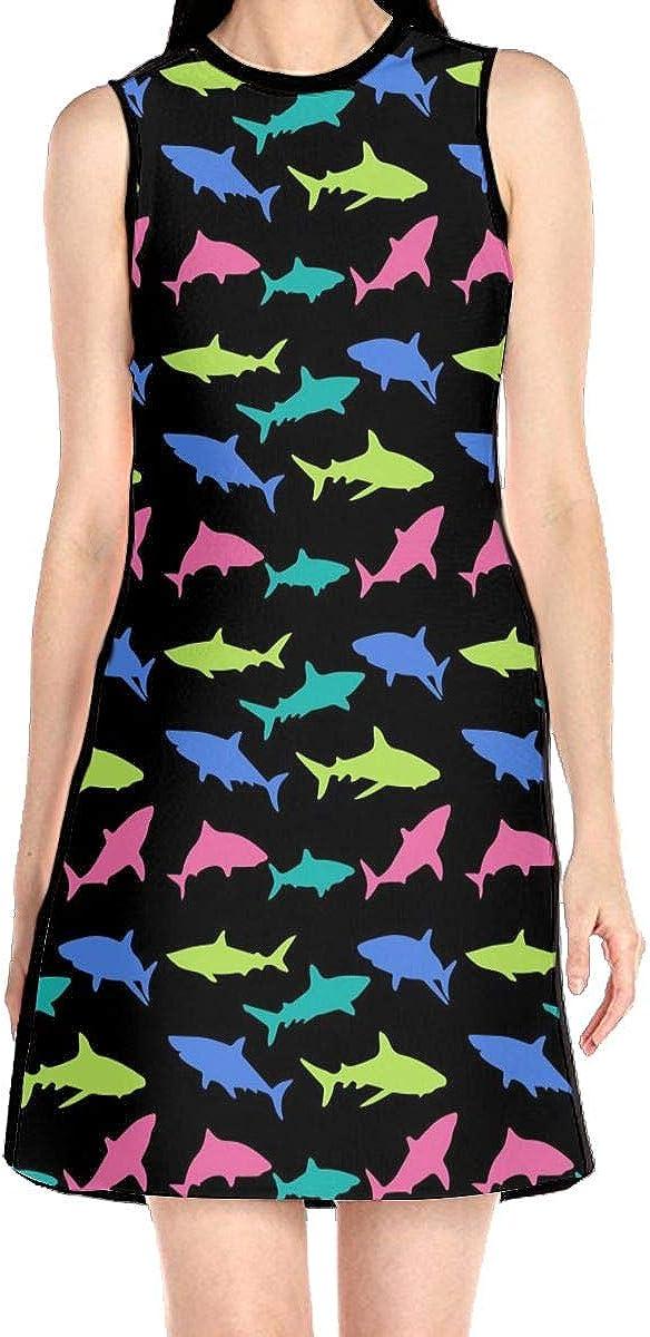Colorful Shark Women's Sleeveless Dress Casual Slim A-Line Dress Tank Dresses