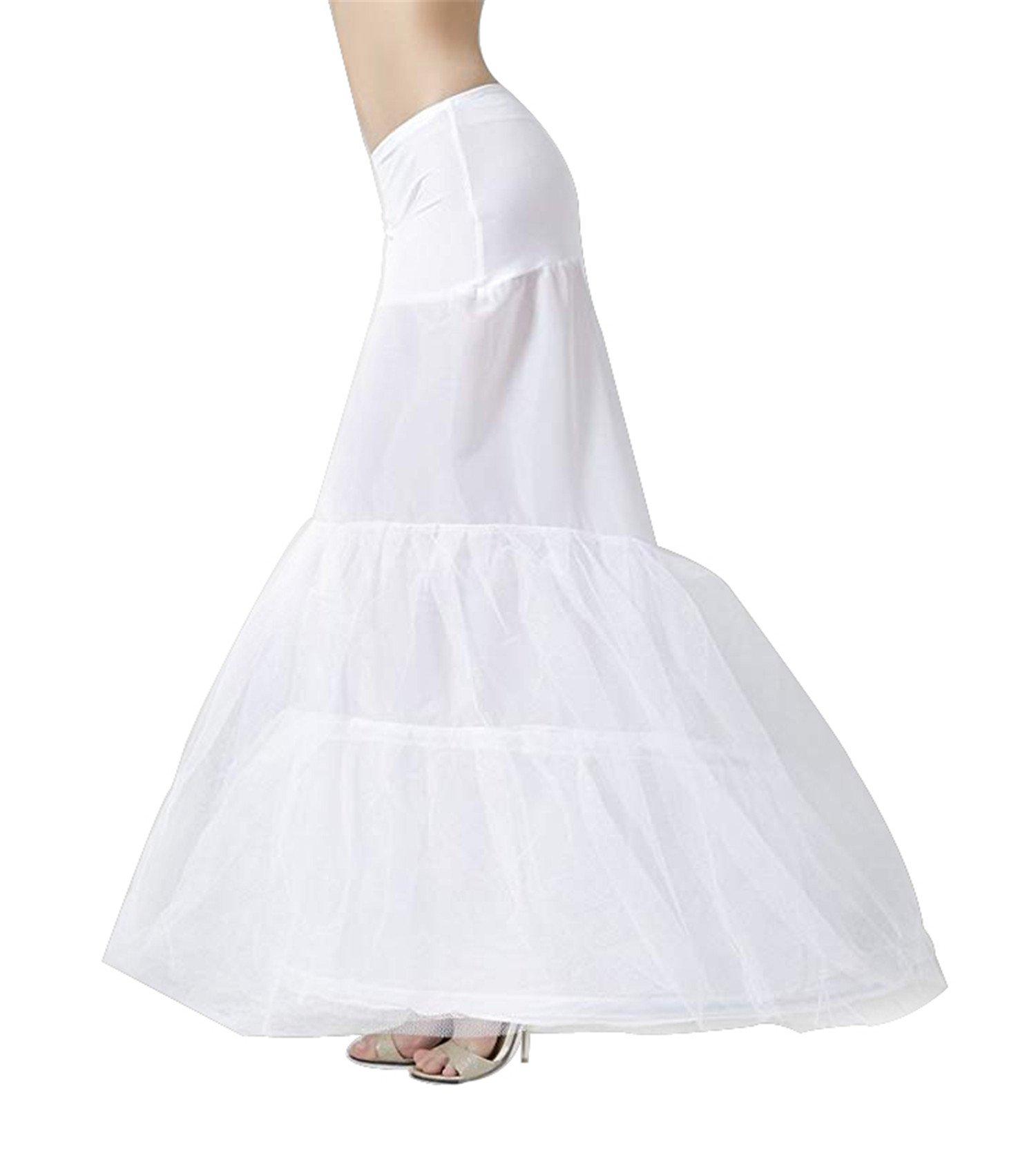 YULUOSHA Women Trumpet Mermaid Fishtail Petticoat Crinoline Underskirt Slips Floor Length for Wedding Dress Ballgown (Waist:66-90cm)
