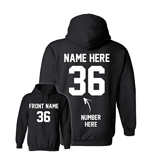 5e51e9af1e98f Custom Hoodies - Add Your Name & Number - 2 Side Personalized Sweaters