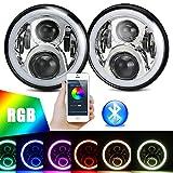 "7"" LED RGB Headlight,7 inch Round Chrome DRL RGB Halo Ring Hi/Lo Beam Headlights Kit Flashing Angel eye Bluetooth Phone APP Controlled for Jeep Wrangler JK TJ LJ CJ"