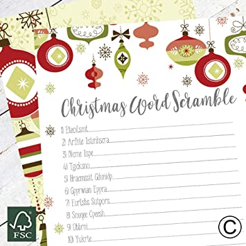Christmas Word Scramble.Christmas Word Scramble Cards Party Game Christmas Entertainment Christmas Eve Games Family Fun Cgws