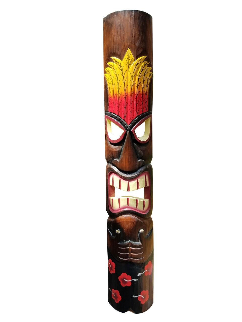 39.5'' Vibrant Handcarved & Painted Wood ''Black Shorts With Red Flowers'' Tiki Mask! by All Seas Imports