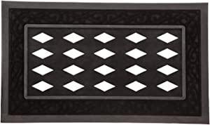 Evergreen Flag Beautiful Springtime Black Scroll Sassafras Switch Welcome Mat Tray - 30 x 18 Inches Fade and Weather Resistant Outdoor Decoration for Homes, Yards and Gardens