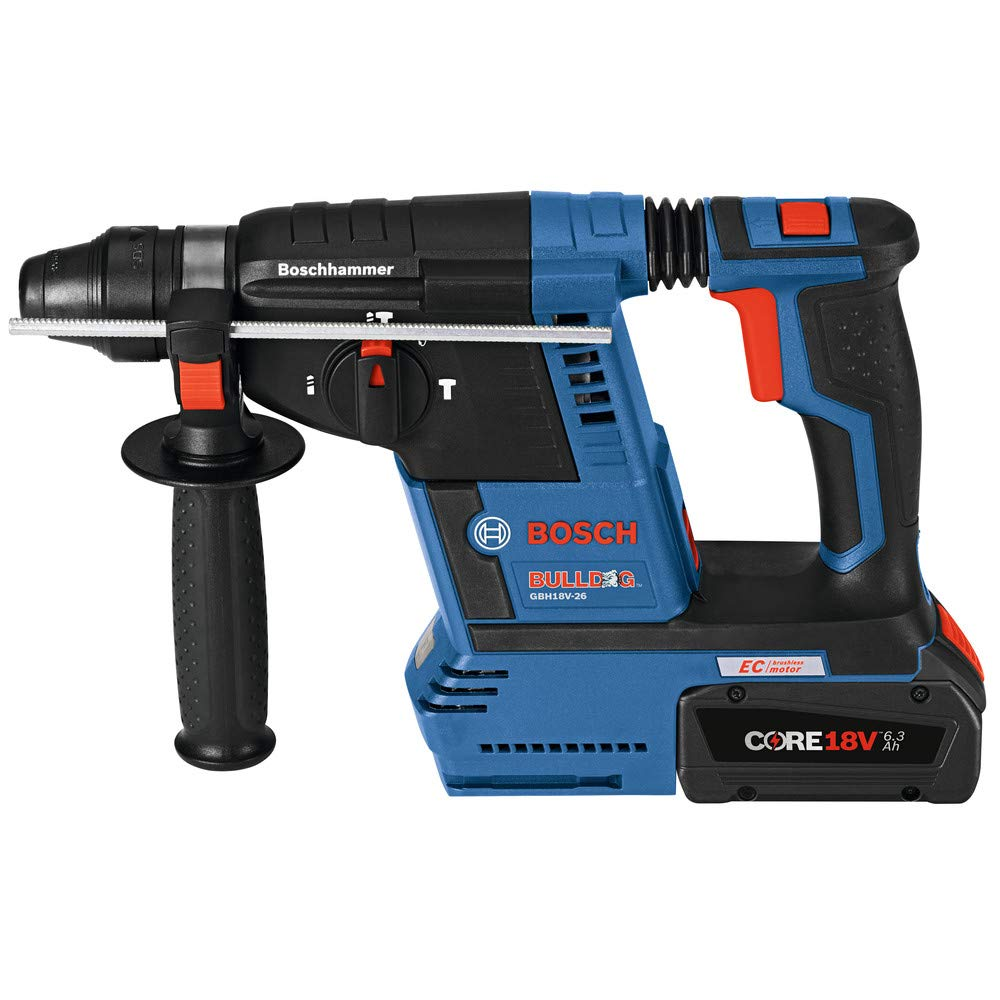 Bosch GBH18V-26K24-RT 6.3 Ah Cordless Lithium-Ion Brushless 1 in. SDS-Plus Bulldog Rotary Hammer Kit (Renewed) by Bosch (Image #1)